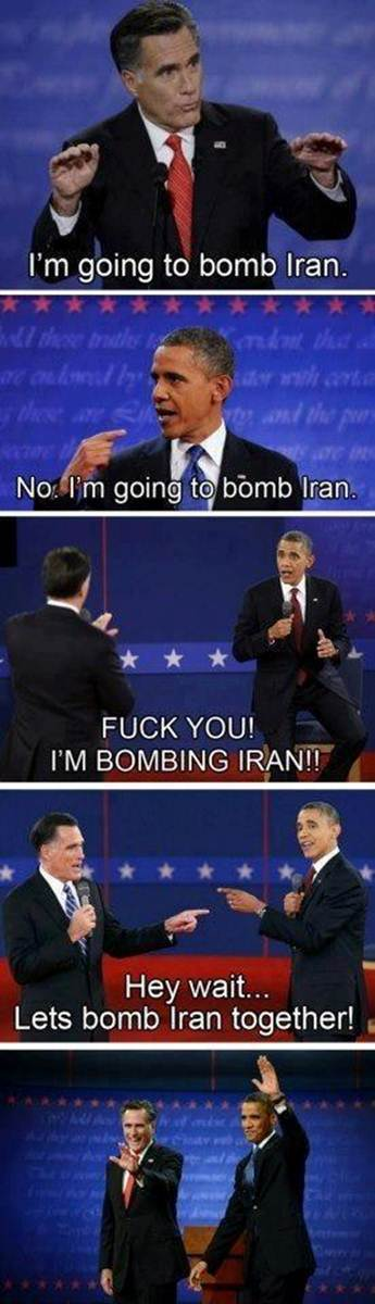 Romney and Obama fight about who gets to bomb Iran first