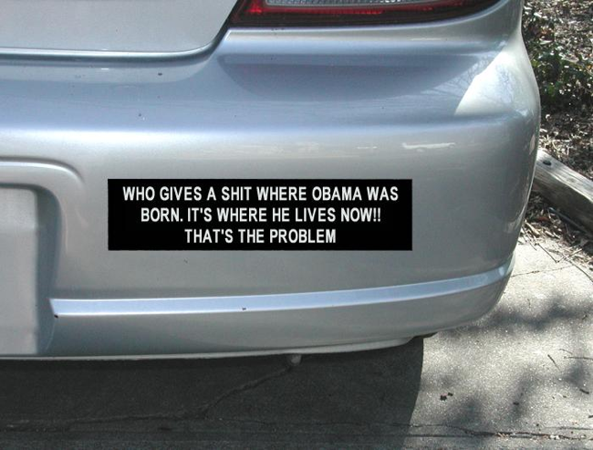Bumper sticker for birthers