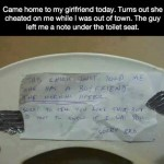 A note under the toilet seat