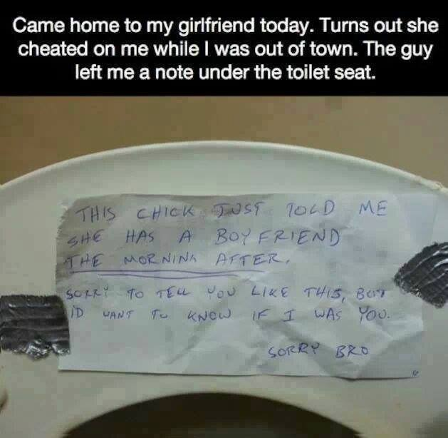 Leaving a note under the toilet seat
