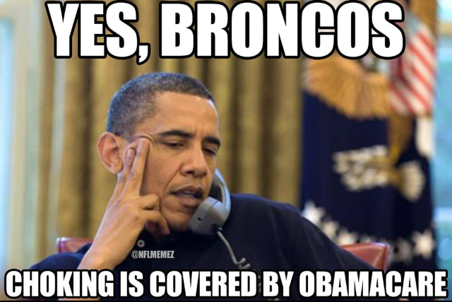Obamacare covers choking for Broncos