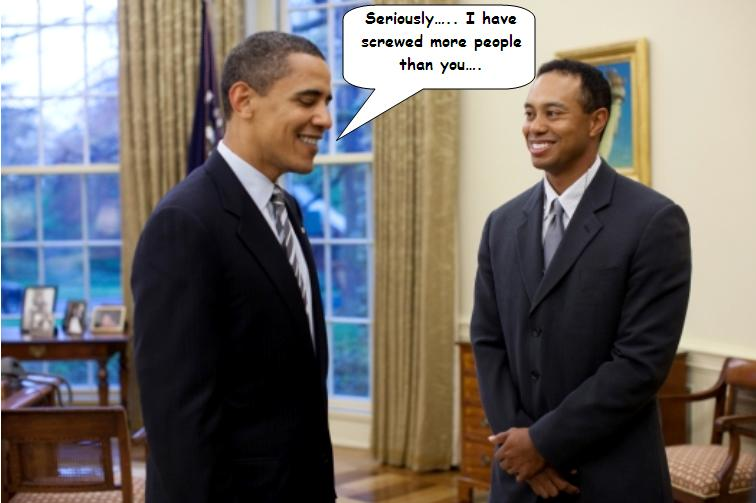 Tiger Woods discusses health care with Barach Obama - Politically Incorrect Humor